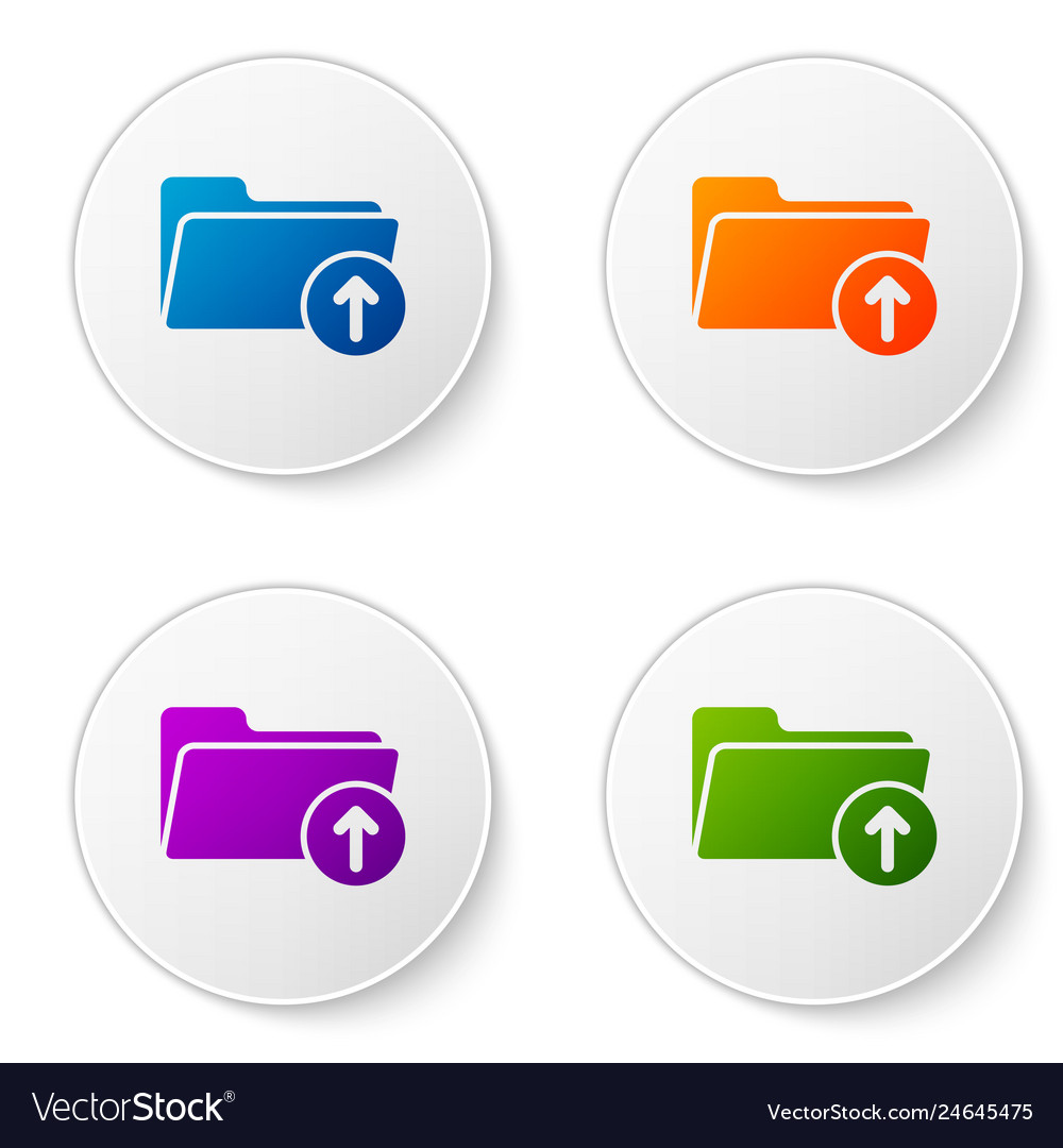 Color download arrow with folder icon isolated on