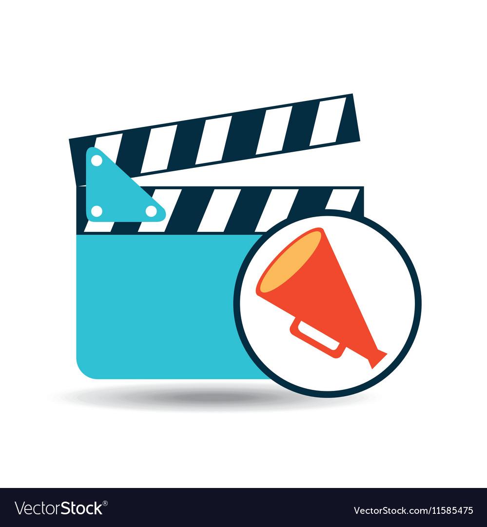 Concept cinema clapper and megaphone icon desgin