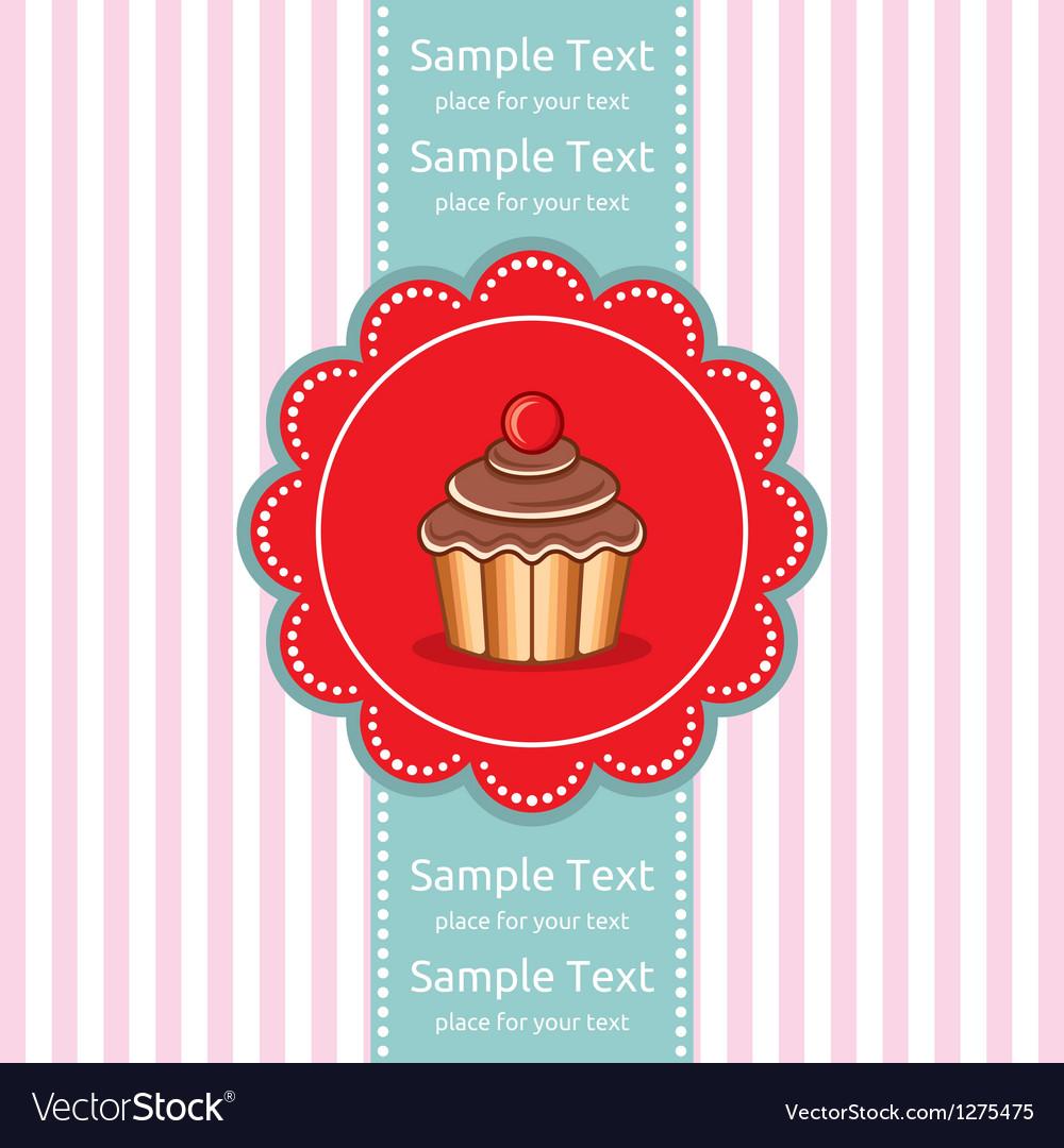 Cute cupcake gift card vector image