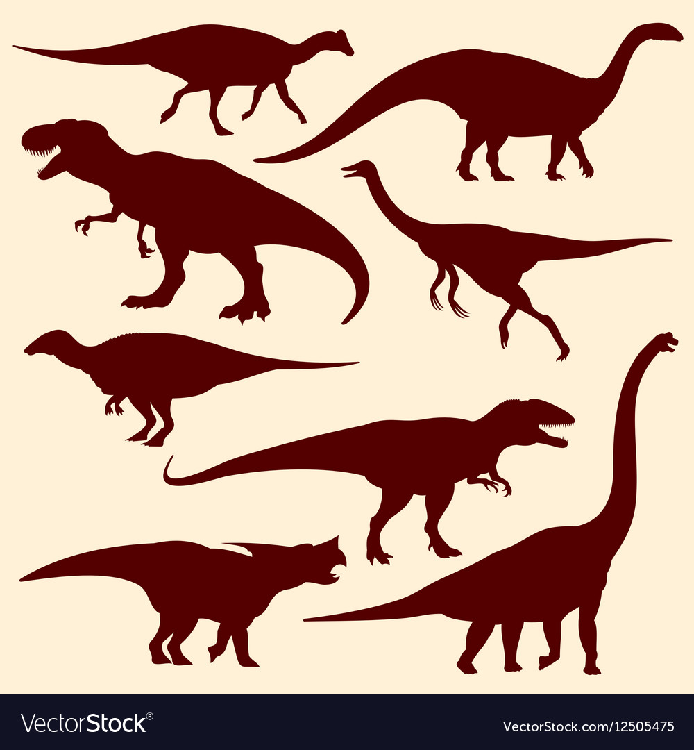 Dinosaurs fossil reptiles silhouettes