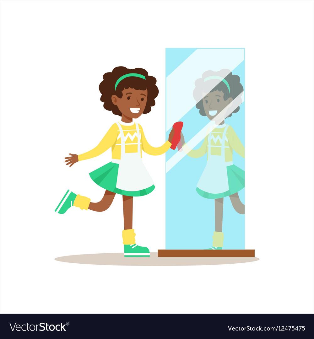 Girl Polishing The Mirror Smiling Cartoon Kid Vector Image