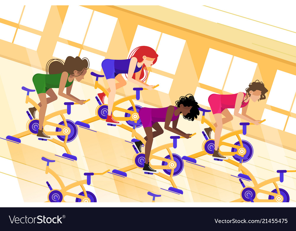 Group workout on stationary bike