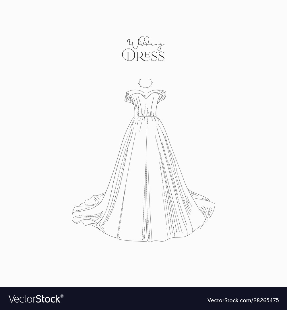 Hand drawn wedding dress for wedding invitations