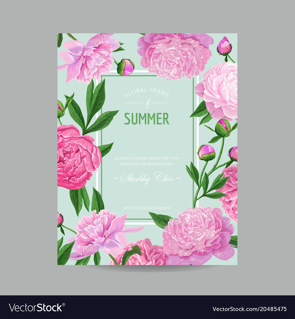 Hello summer floral design blooming pink peony