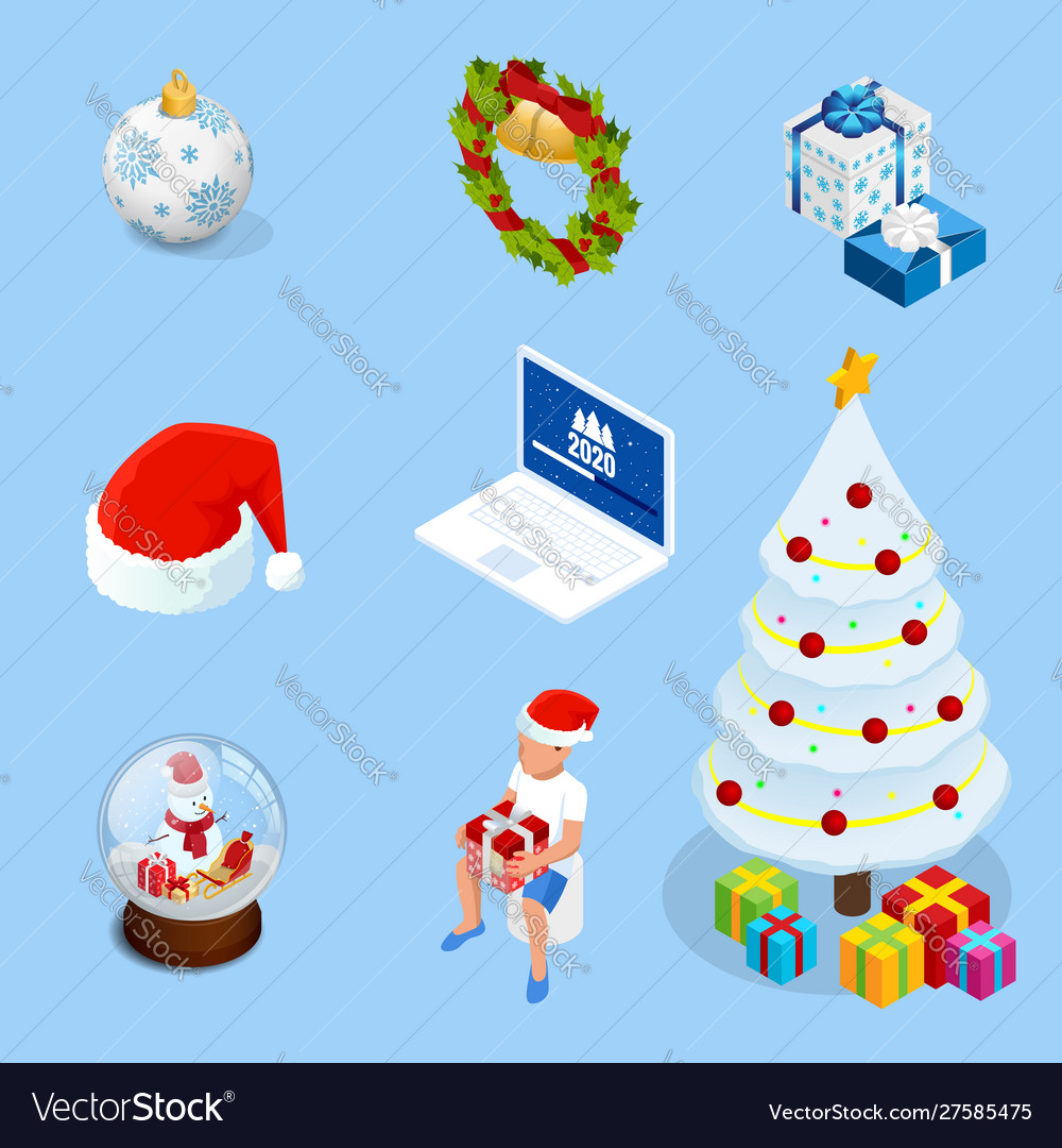 Isometric set graphic elements for christmas