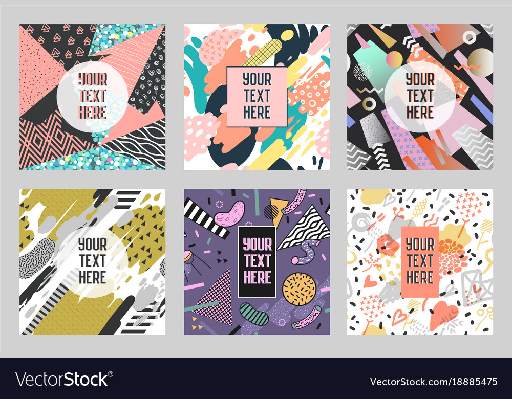 Memphis abstract posters set with geometric shapes