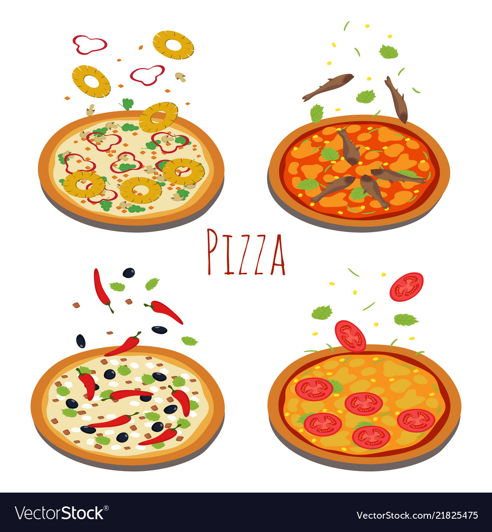 Set of different pizzas with falling ingredients