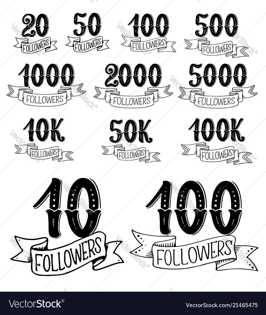 Social net follower numbers lettering