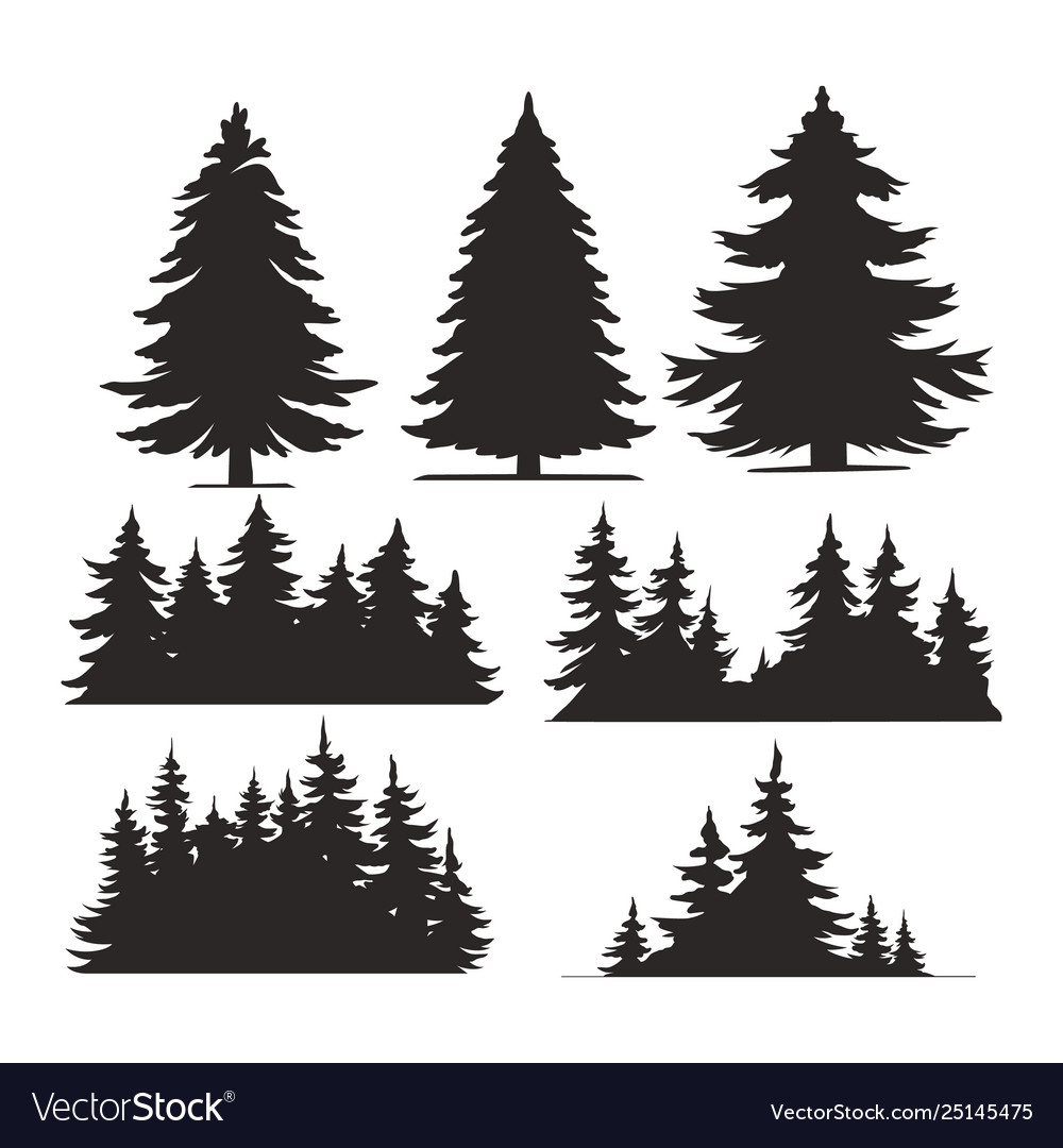 Vintage trees and forest silhouettes set