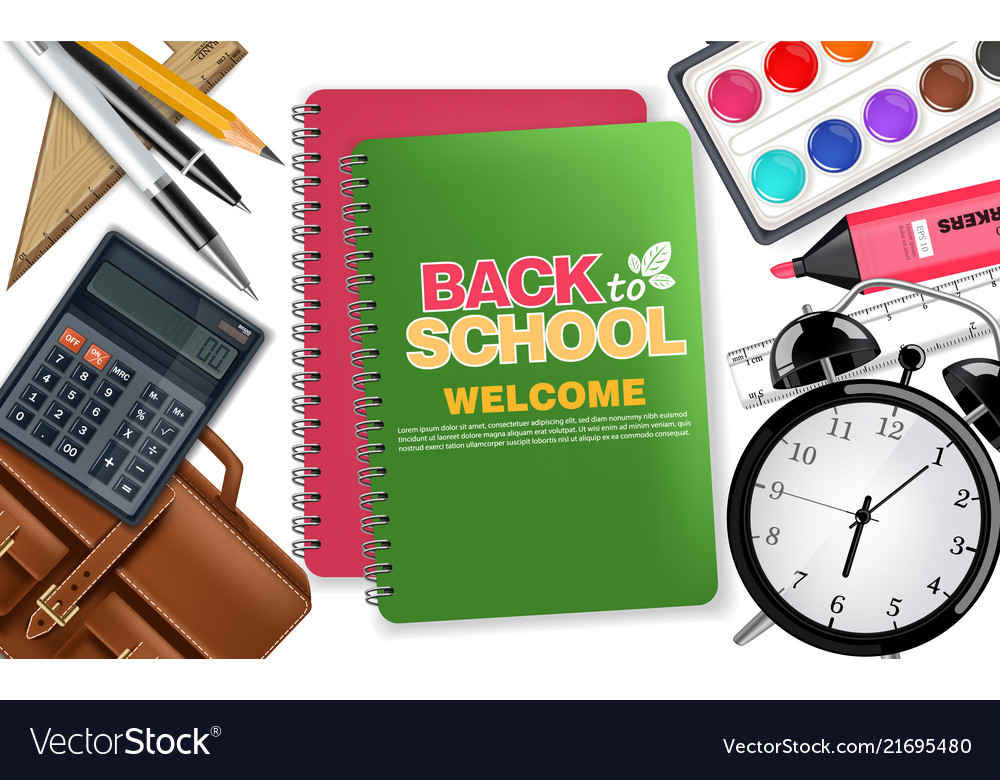 Back to school notes book and alarm clock
