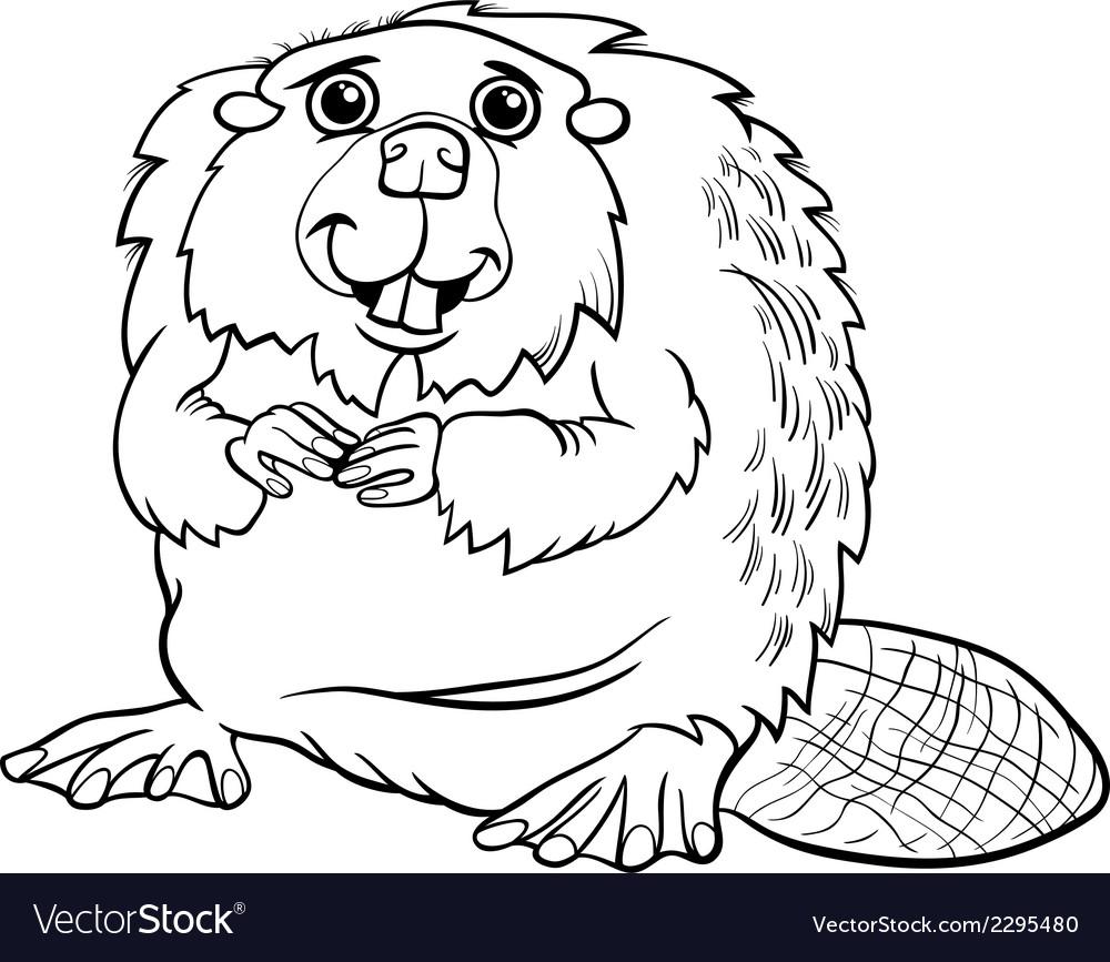 Beaver Animal Cartoon Coloring Page Royalty Free Vector