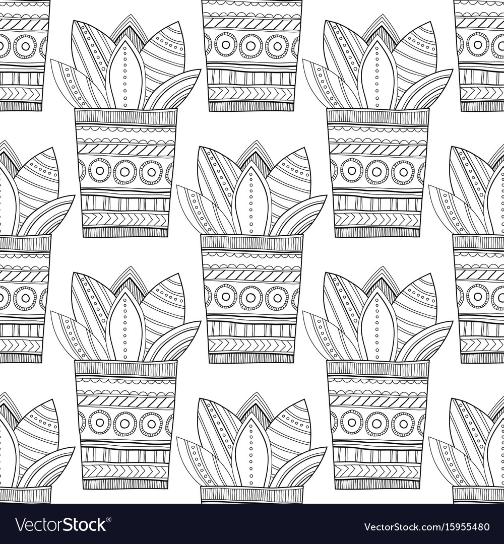 Black and white seamless pattern of ornamental