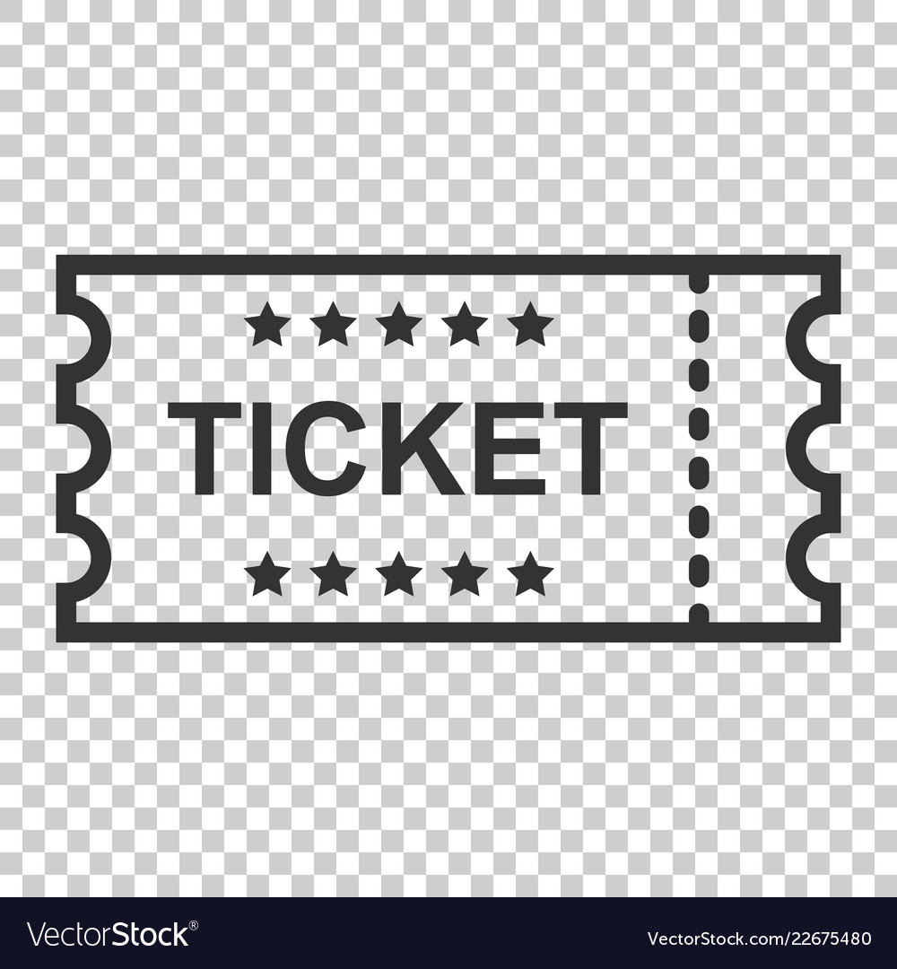 Cinema ticket icon in flat style admit one coupon