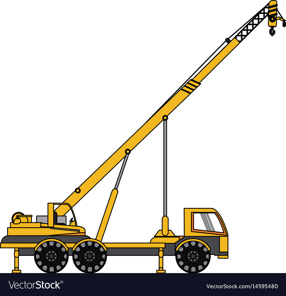 color image cartoon construction crane truck vector image  vectorstock