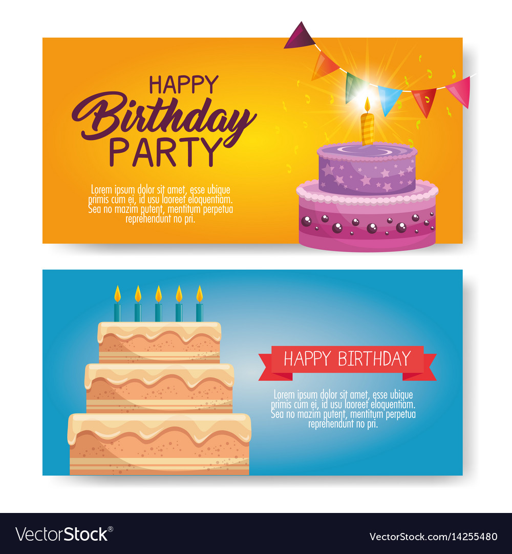 Happy Birthday Cake Card Royalty Free Vector Image