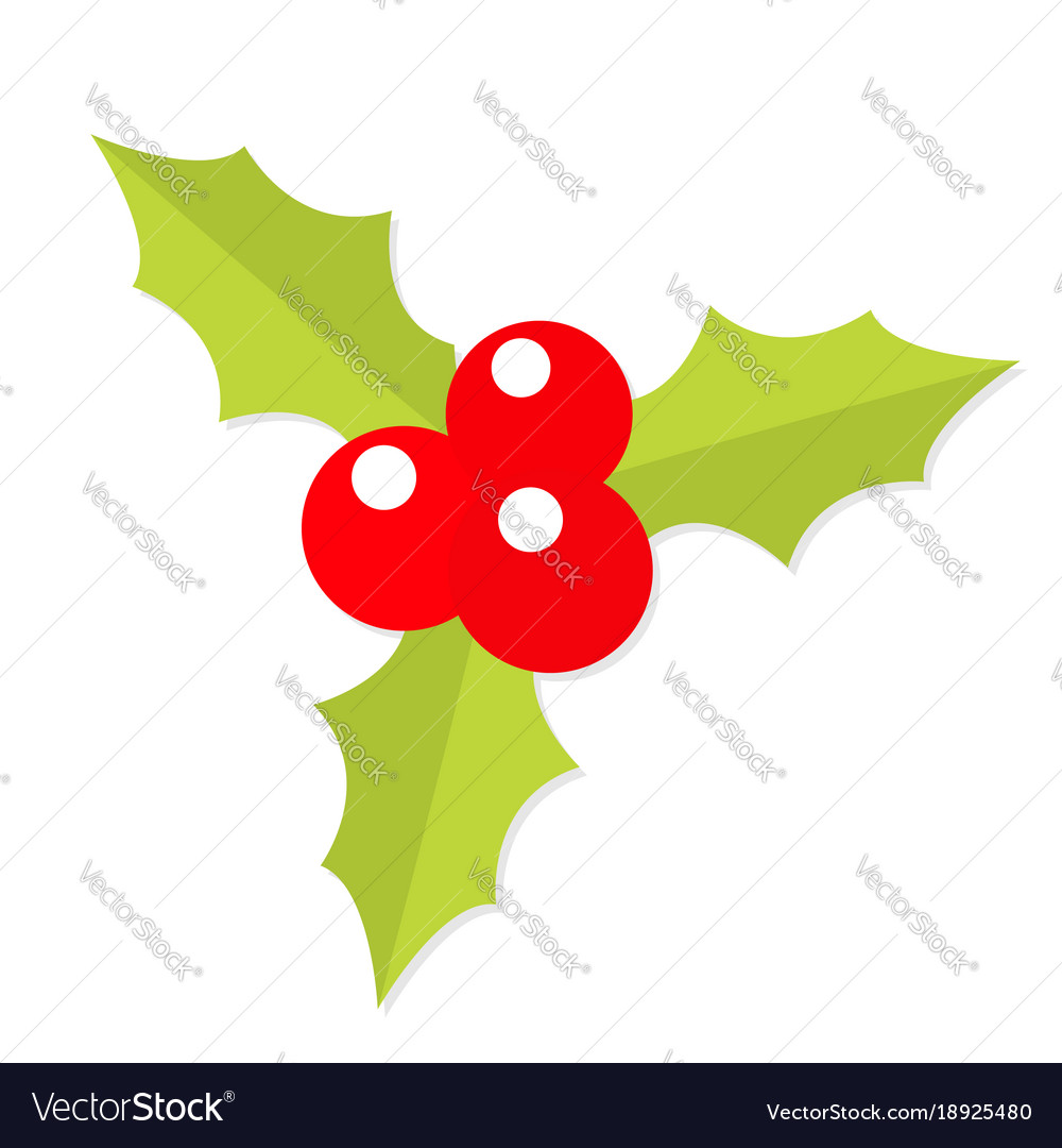 holly berry icon mistletoe green leaf three red vector image rh vectorstock com mistletoe vector icon mistletoe vector free download