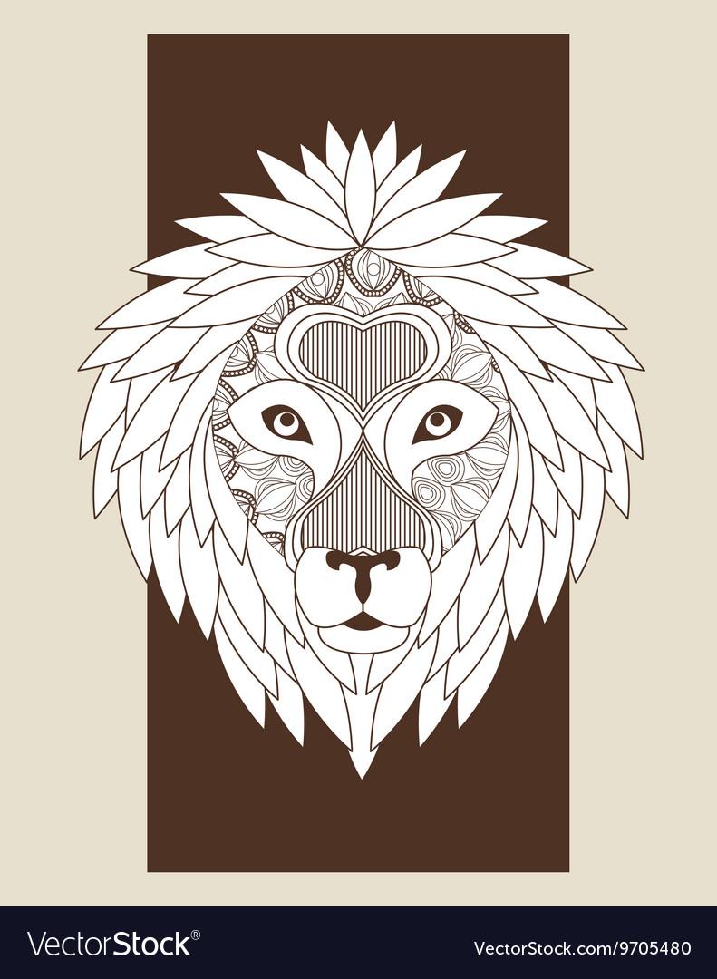 Lion icon Animal and Ornamental predator design vector image