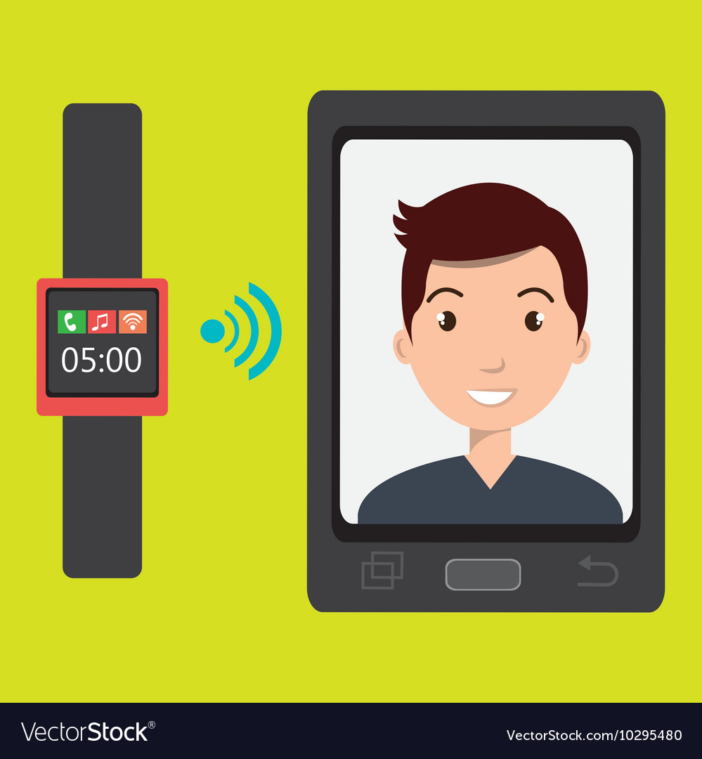 man on the screeen of a smarthone design vector image