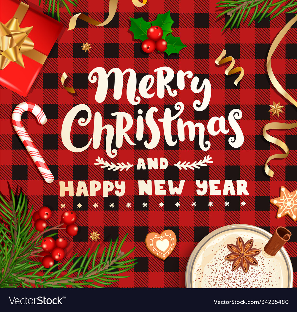 Merry christmas wishing card on checkered backdrop