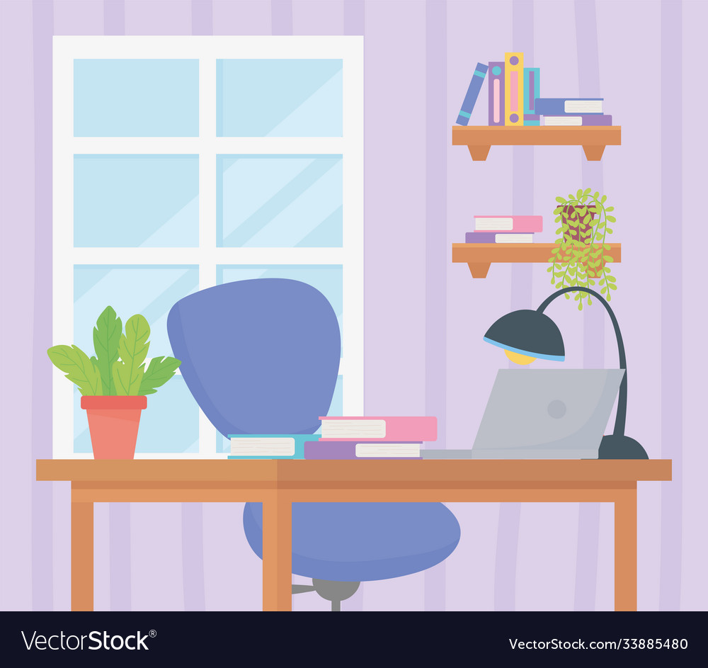 Office workplace chair desk books laptop lamp