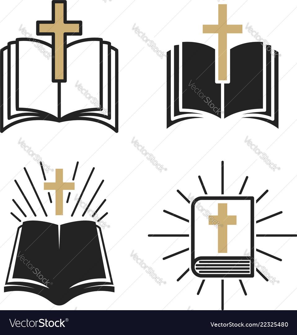 Religious community set of emblem with holy bible