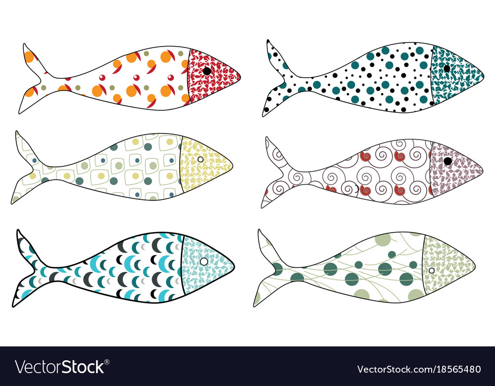 Set of stylized fishes collection of