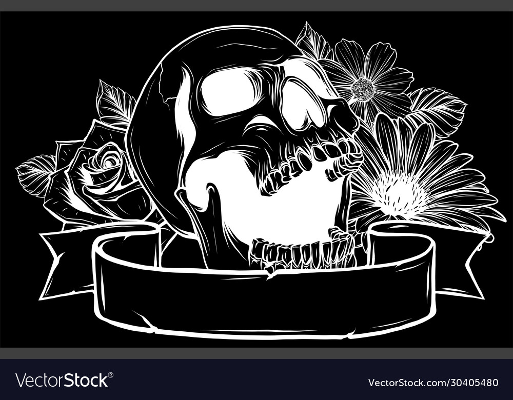 Skull and flowers in black background