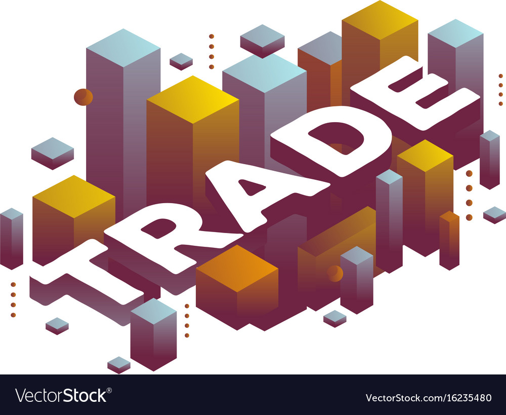 Three dimensional word trade with abstract color vector image