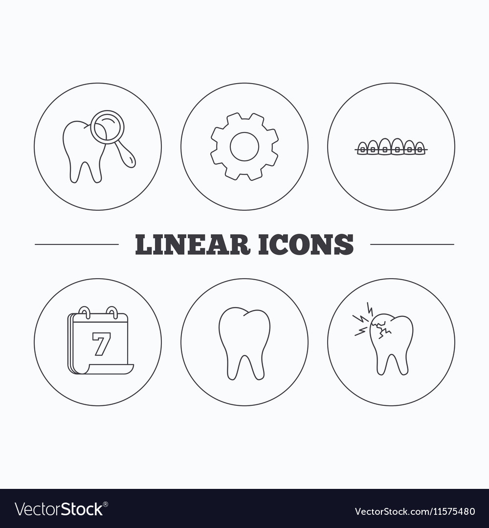 Tooth dental braces and toothache icons