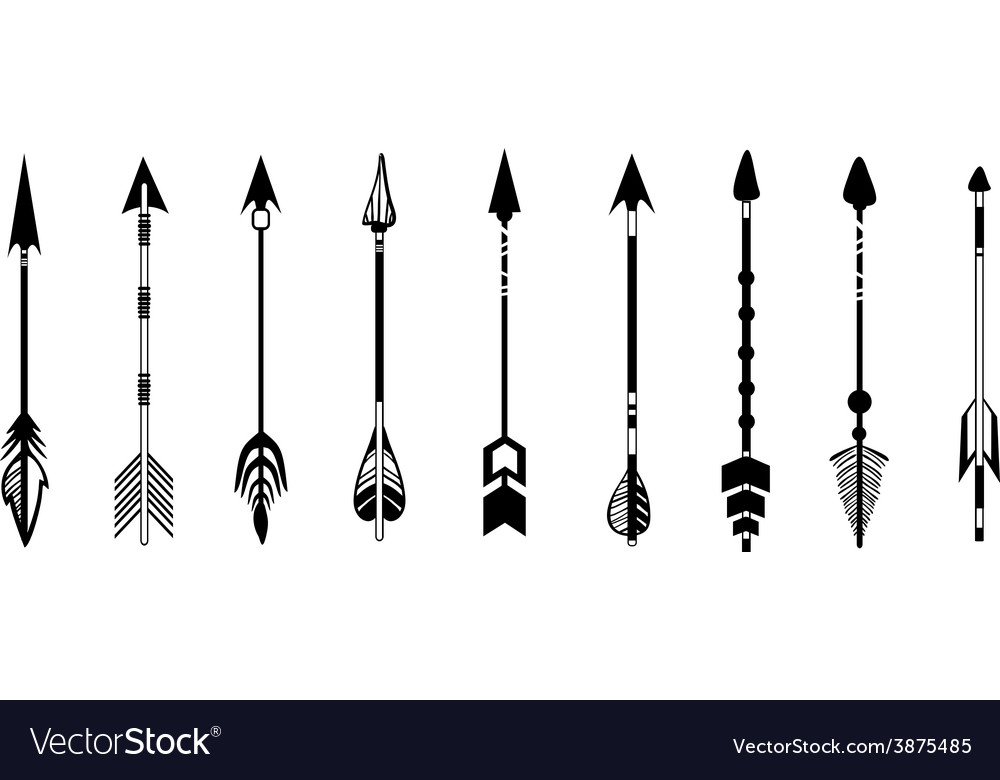 A set of cute hipster arrows hand drawn doodles