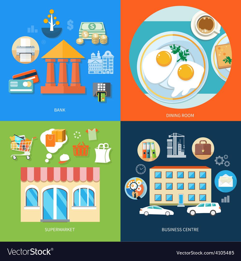 Bank dining room supermarket business centre vector image