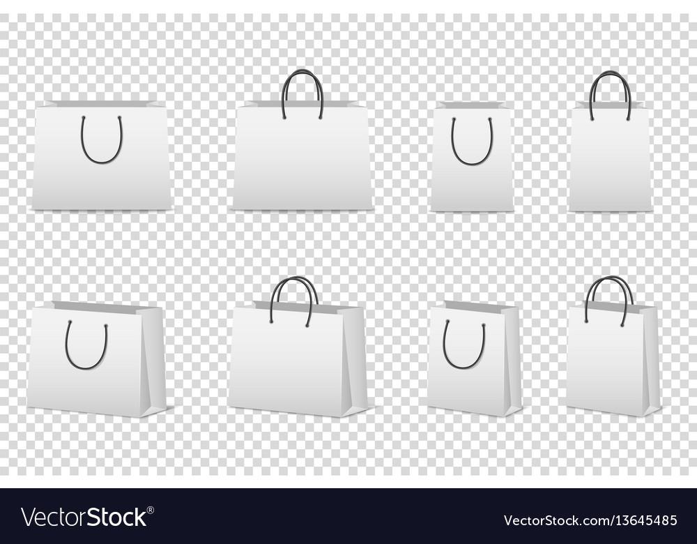Blank white paper bag set isolated design