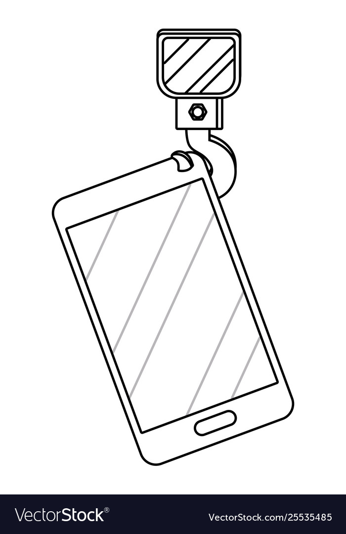 Cellphone with crane hook in black and white