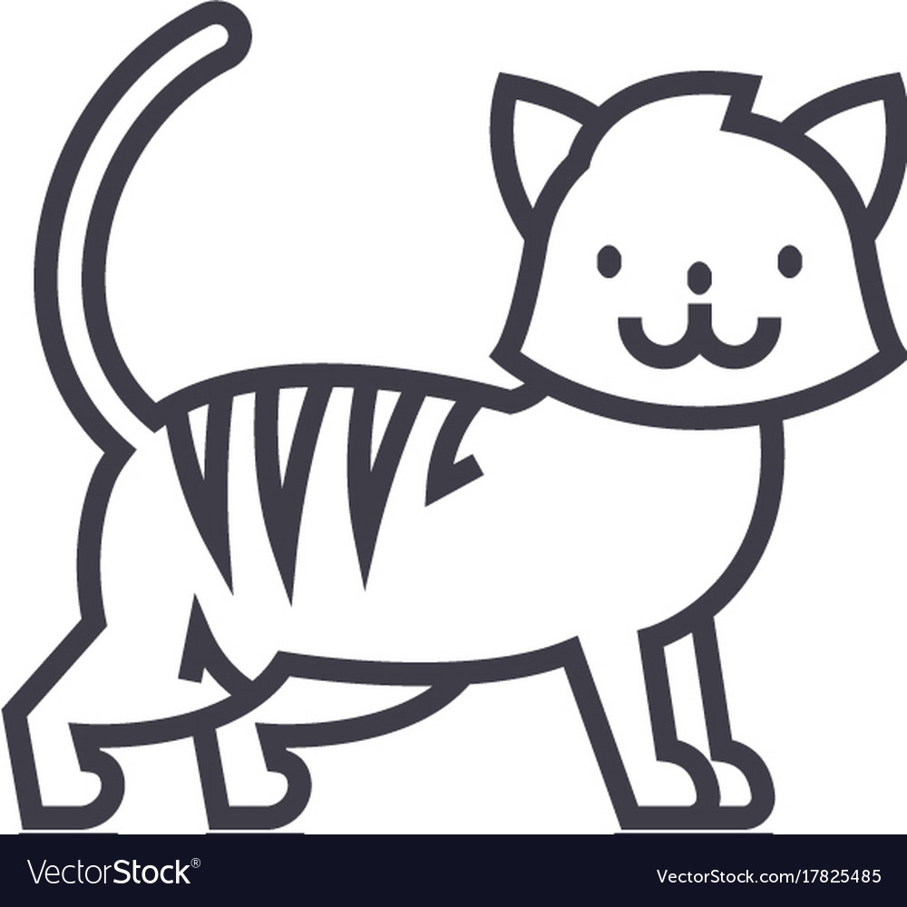 Cute cat line icon sign o