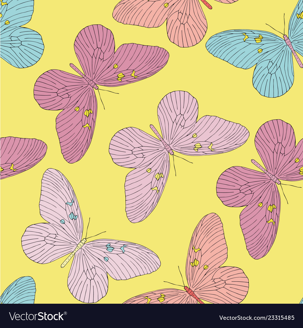 Hand drawn butterfly seamless pattern