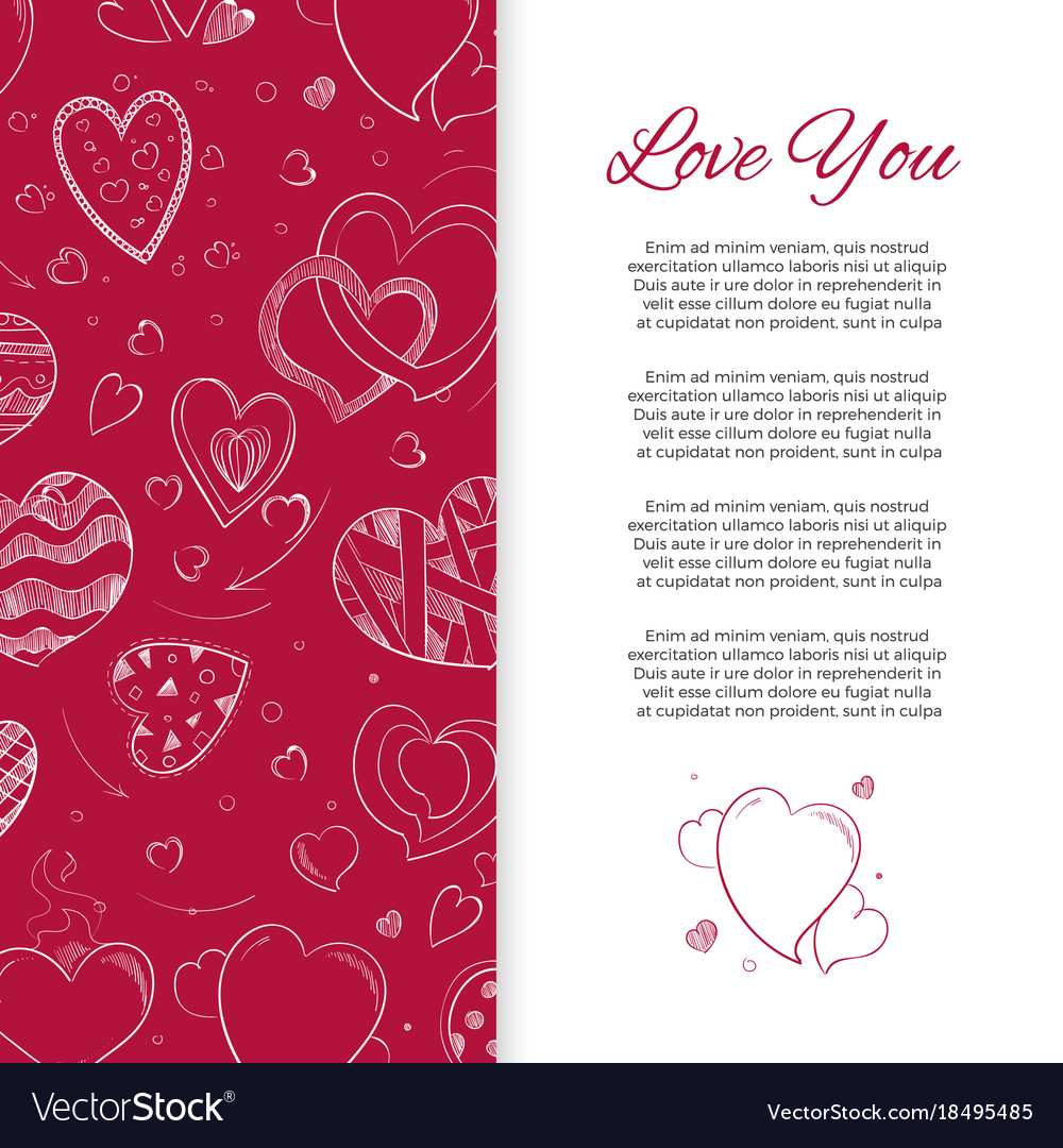 Love you background or card with doodle hearts