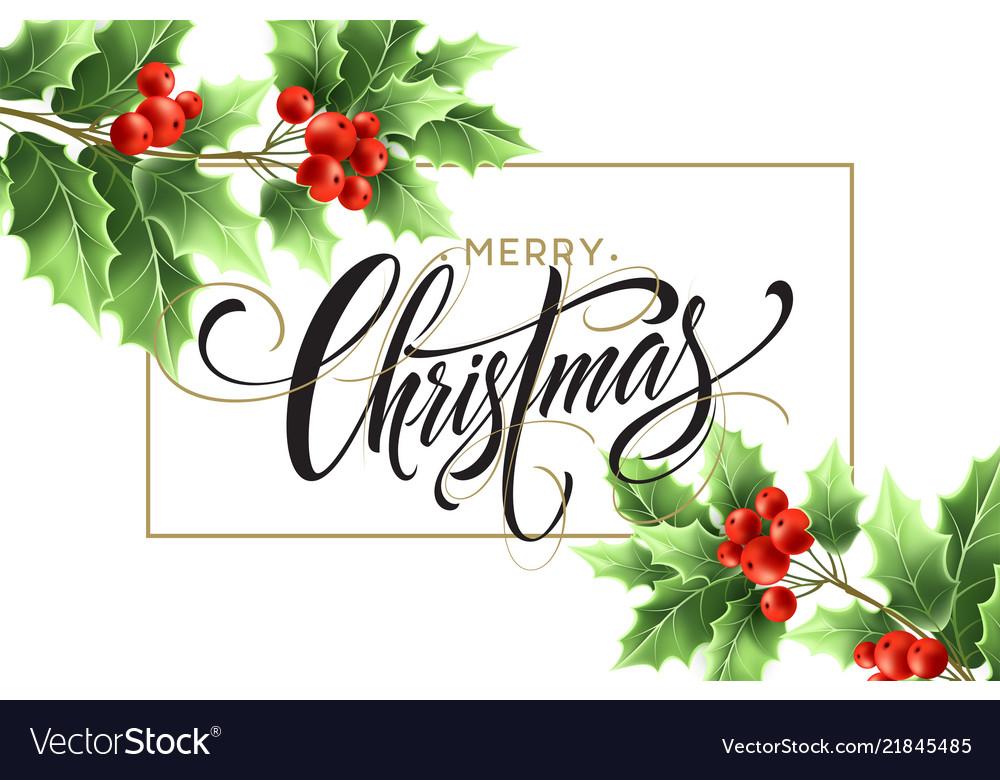 Merry christmas lettering in rectangular frame