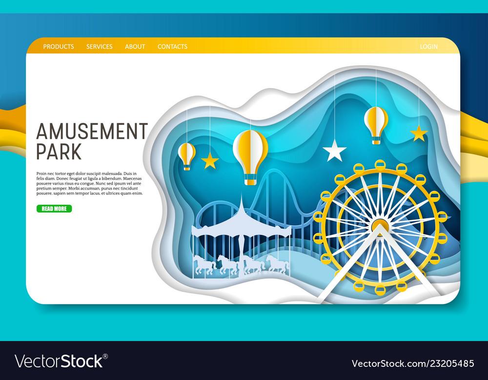 Paper cut amusement park landing page