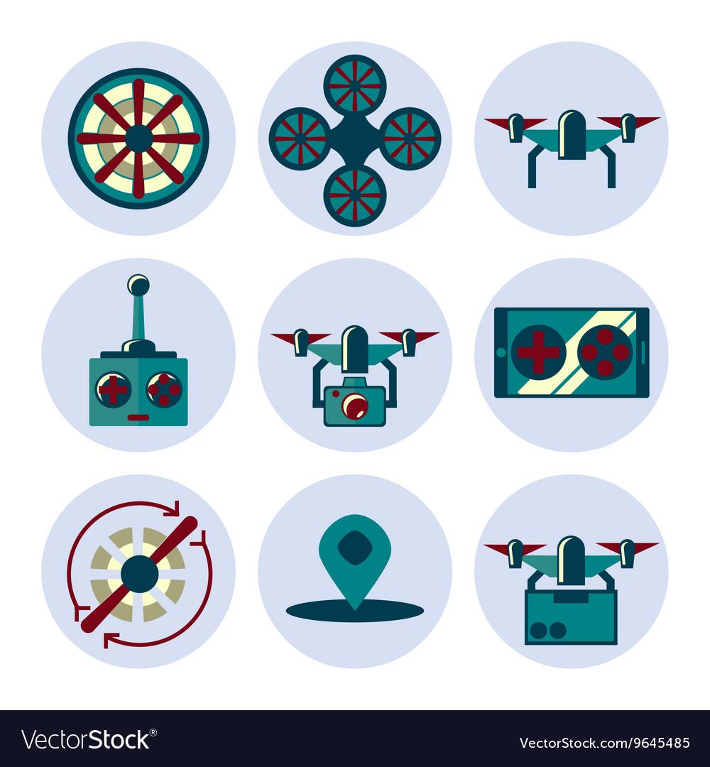 Quadrocopter flat icons set