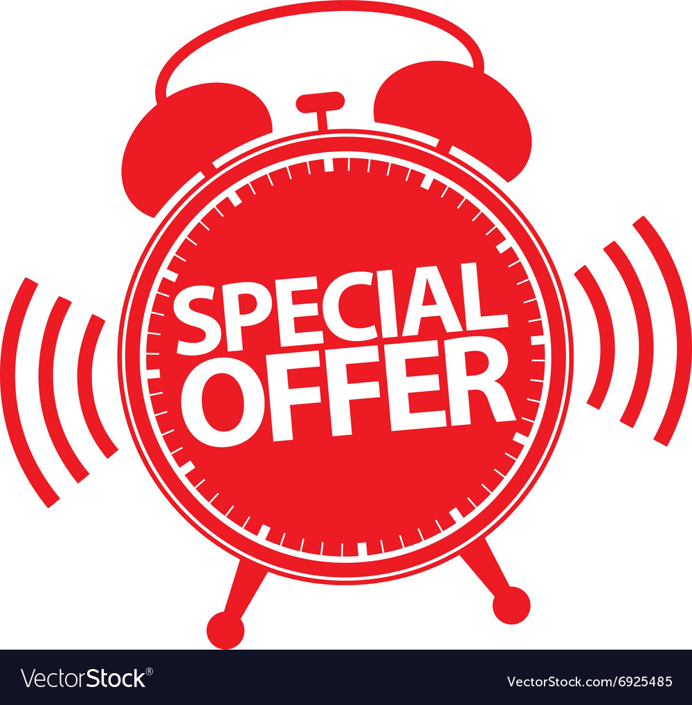 Special Offer Alarm Clock Icon Royalty Free Vector Image