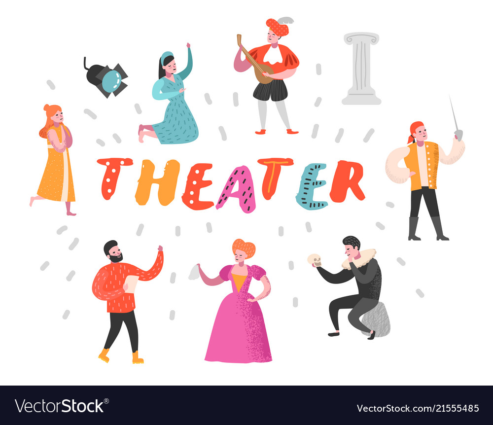 Theater actor characters flat people theatrical