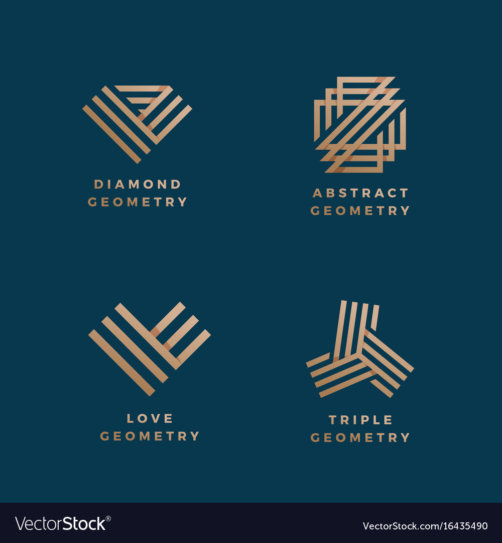 Abstract geometry minimal signs set golden