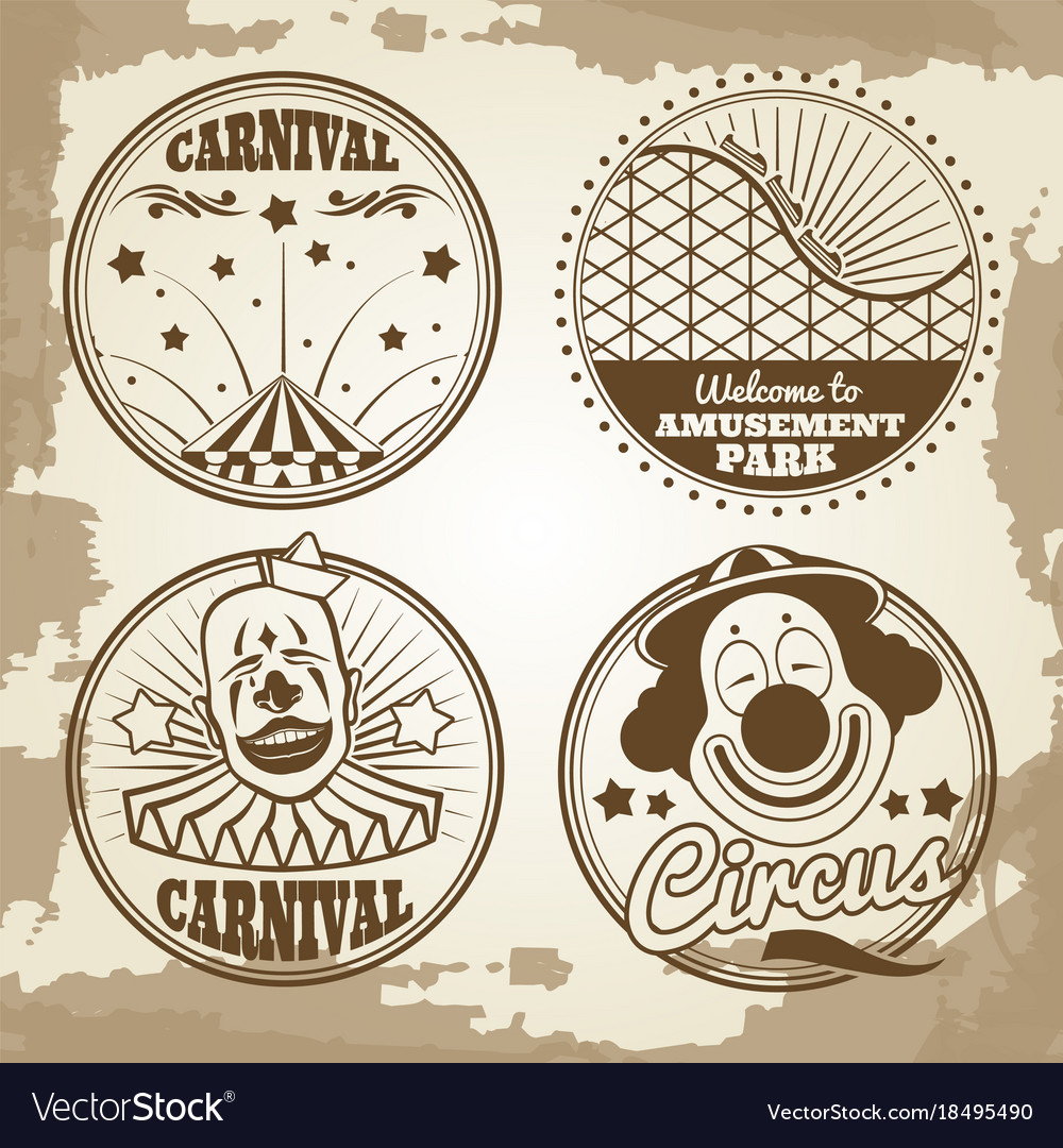 Amusement park circus carnival emblems on vintage