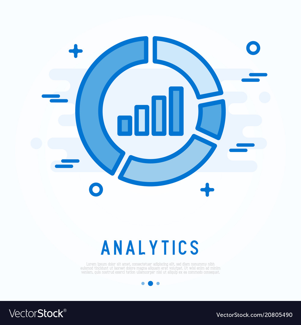 Analytics thin line icon chart in circle