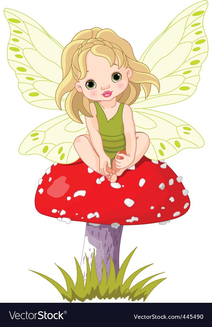 Baby fairy on the mushroom vector image