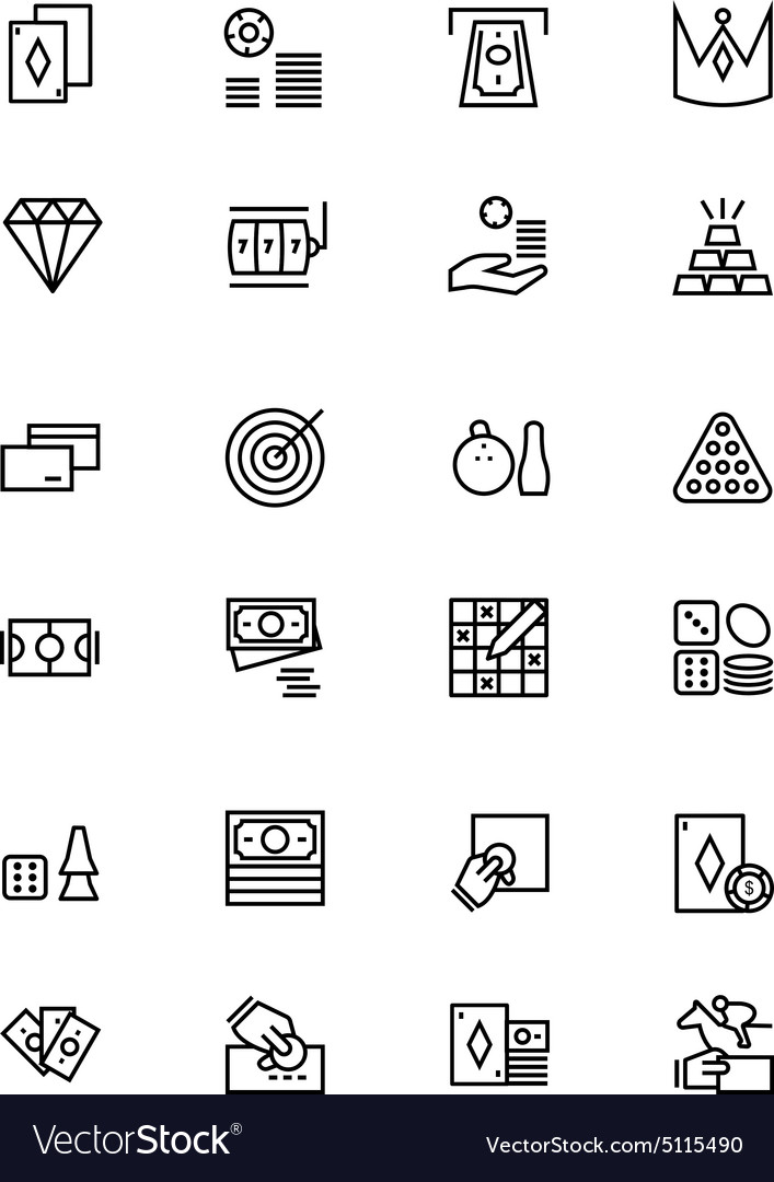 Casino and Gambling Outline Icons 2