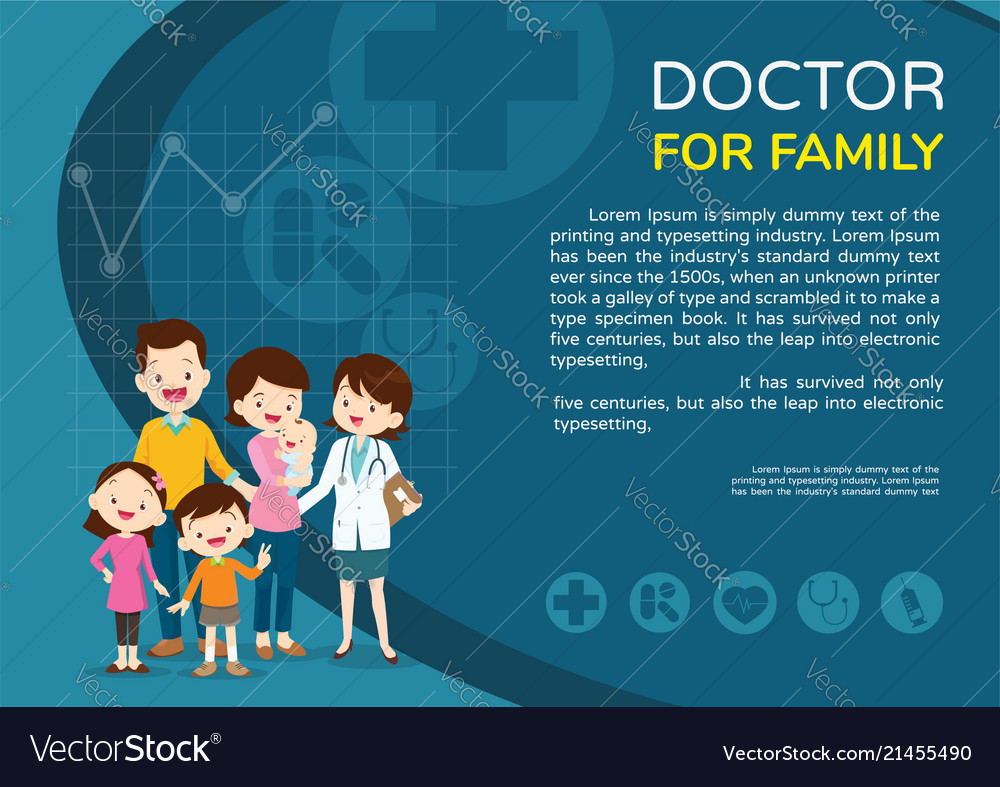 Doctor woman and family background poster