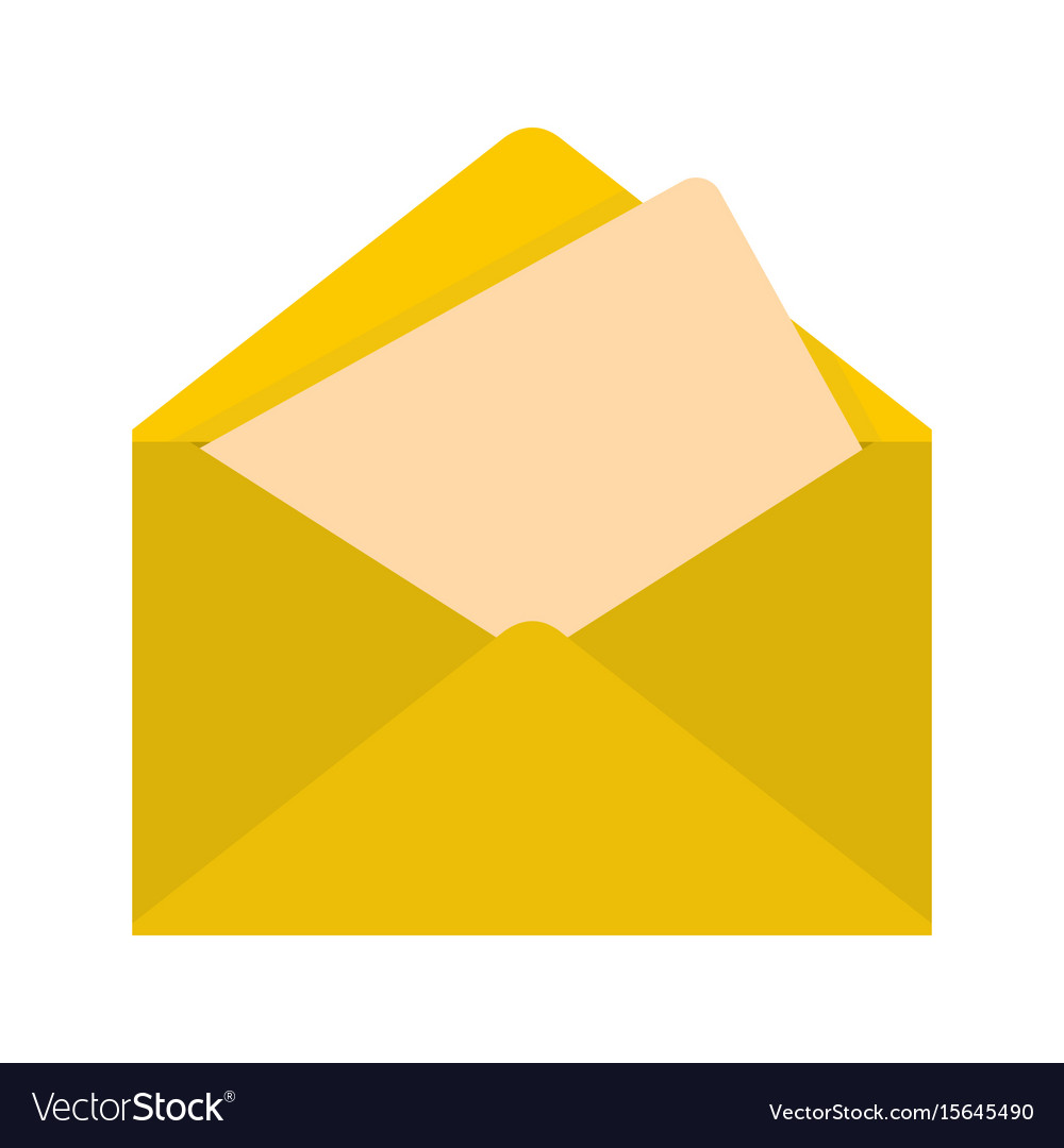 flat yellow mail letter icon royalty free vector image