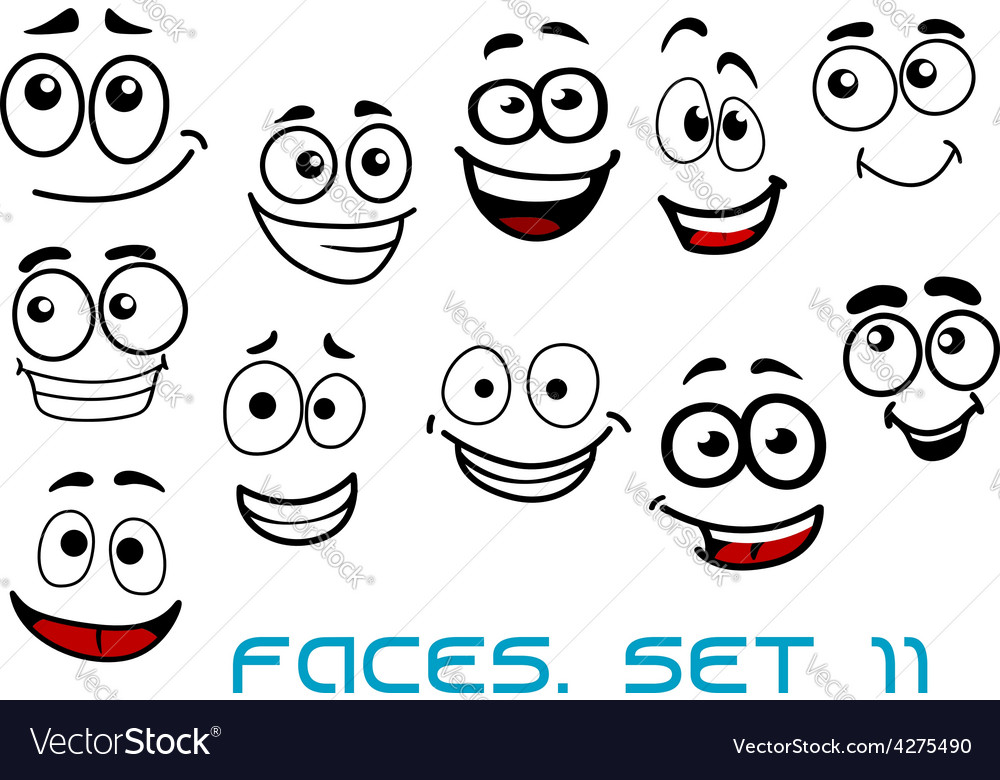 funny happy faces cartoon characters royalty free vector rh vectorstock com cartoon faces happy sad cartoon happy face images