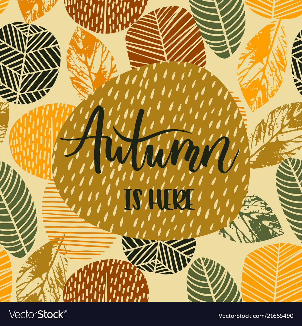Lettering design with abstract autumn background